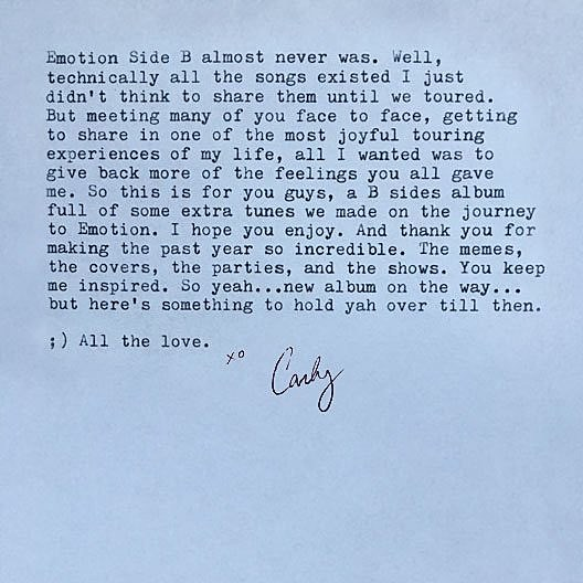 CARLY RAE LETTER